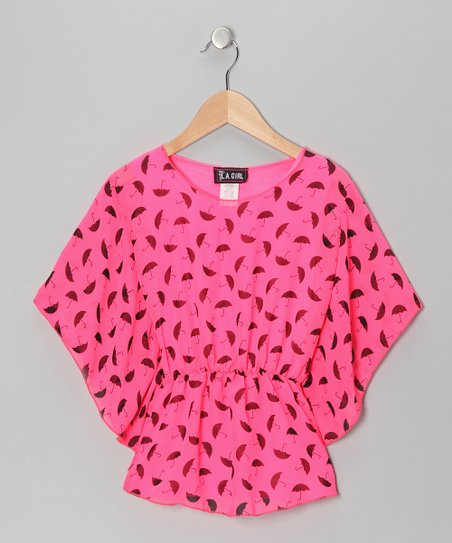 Neon Pink Umbrella Flutter-Sleeve Top - Girls