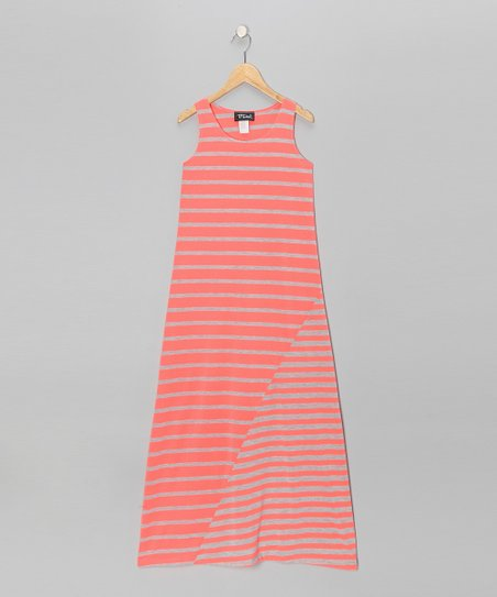 Heather Gray &amp; Neon Coral Stripe Maxi Dress - Girls
