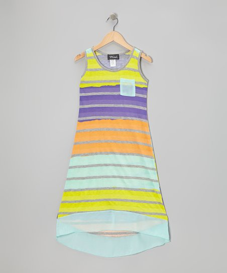 Mint & Purple Stripe Hi-Low Dress - Girls
