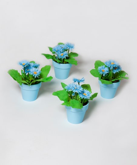 Blue Potted Flower Figurine - Set of Four