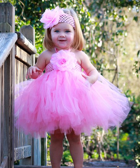 Pink Flower Tutu Dress & Headband - Infant