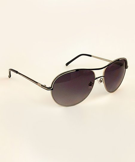 Black Contemporary Pilot Sunglasses