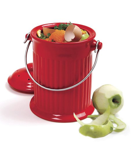 Red Ceramic Compost Crock