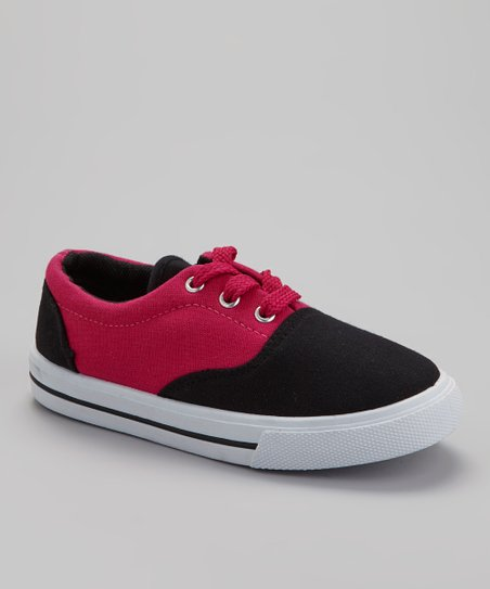 Black & Fuchsia Lace-Up Sneaker