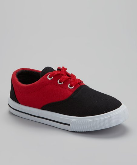 Black & Red Lace-Up Sneaker
