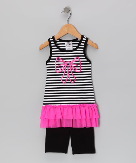 Black & Pink Stripe Tank & Bike Shorts - Toddler & Girls