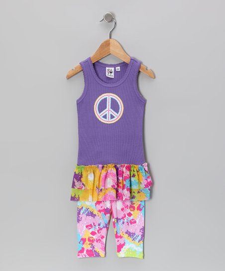 Purple Peace Tank & Bike Shorts - Toddler & Girls