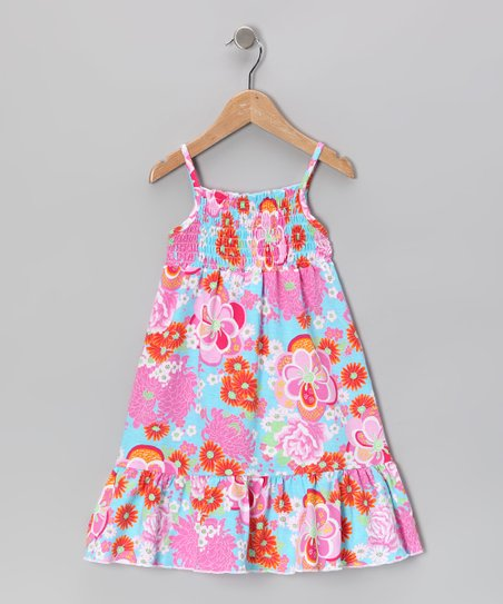 Pink &amp; Blue Floral Maxi Dress - Toddler &amp; Girls