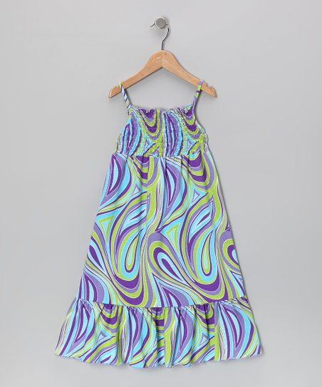 Turquoise & Purple Maxi Dress - Toddler & Girls