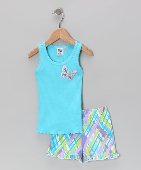 Teal Butterfly Ruffle Tank &amp; Shorts - Toddler &amp; Girls