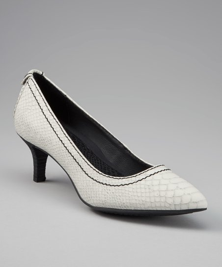 White & Gray Python Kaleigh Leather Kitten Heel