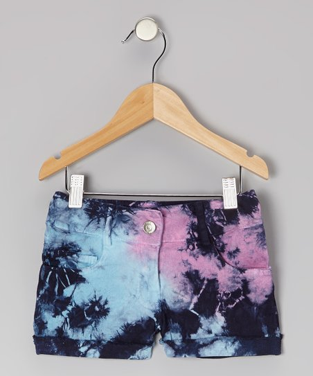 Navy Tie-Dye Shared Shorts - Girls