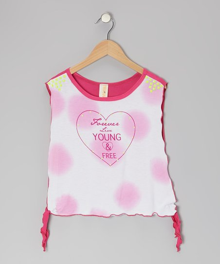White & Fuchsia 'Forever Live Young' Side-Tie Top - Girls