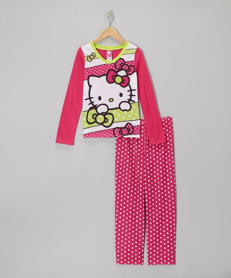 Dark Pink Polka Dot Hello Kitty Pajama Set - Girls
