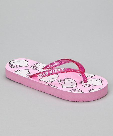 Pink Glitter Hello Kitty Flip-Flop - Girls