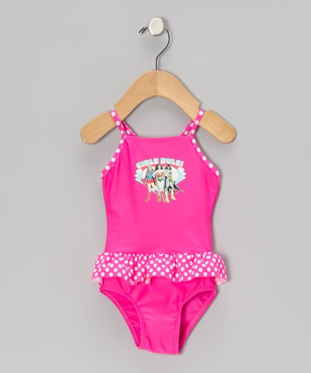 Pink 'Girls Rule' Skirted One-Piece - Infant & Toddler