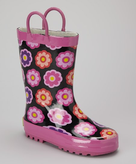 Black & Pink Flower Rain Boot