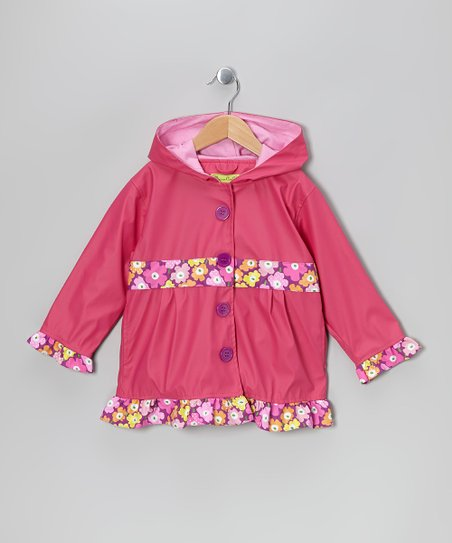 Pink Posie Patch Raincoat - Toddler & Girls