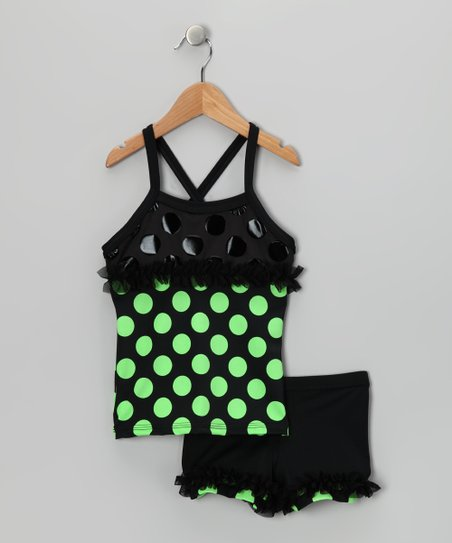 Green Polka Dot Ruffle Tank & Shorts - Toddler & Girls