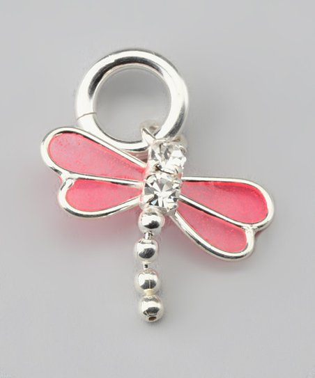 Pink &amp; Sterling Silver Dragonfly Charm