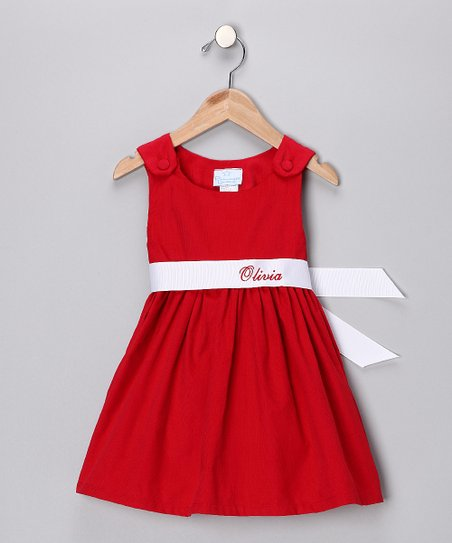 Red & White Personalized Sash Dress - Infant, Toddler & Girls