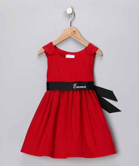 Red & Black Personalized Sash Dress - Infant, Toddler & Girls