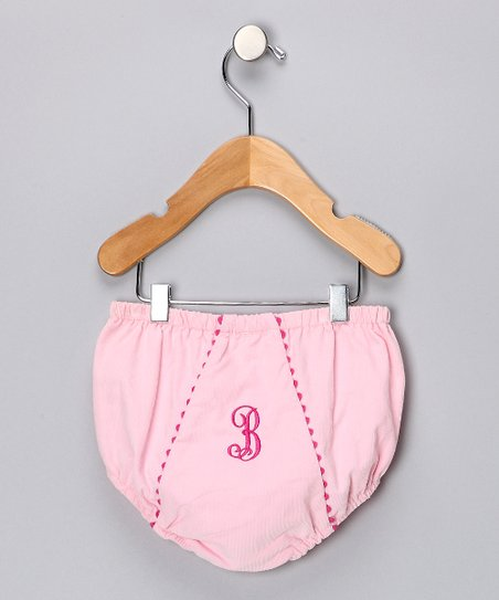Pink Corduroy Initial Diaper Cover - Infant &amp; Toddler