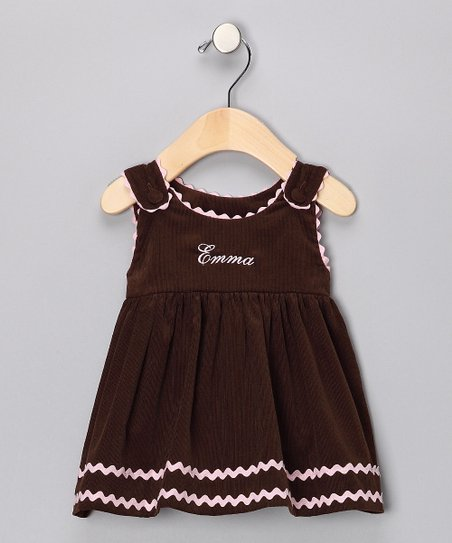 Brown Corduroy Personalized Dress - Infant, Toddler & Girls