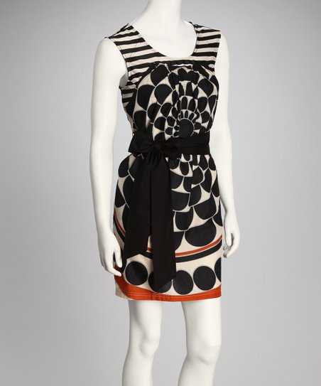 Black & Ivory Belted Dress