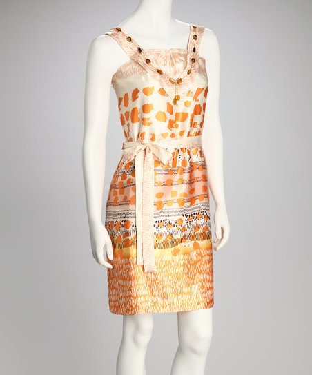 Orange & Cream Flower Dress