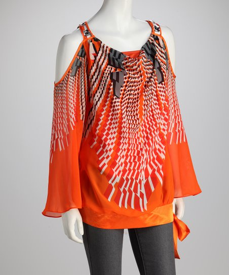Orange Cutout Top