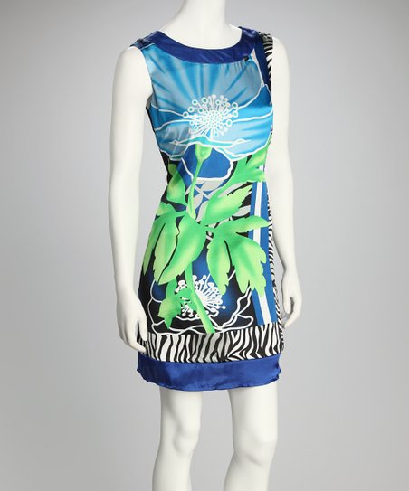 Blue Palm Dress