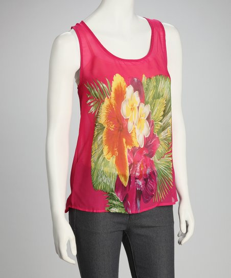 Fuchsia Floral Shirttail Tank