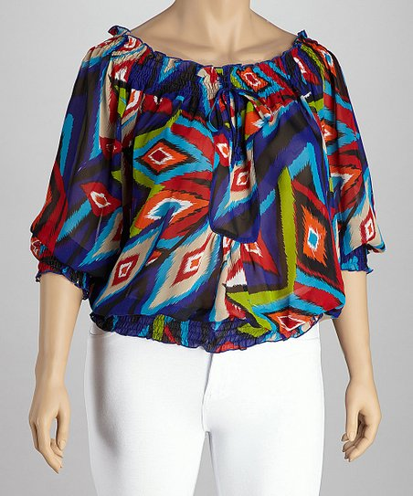 Blue & Red Peasant Top - Plus