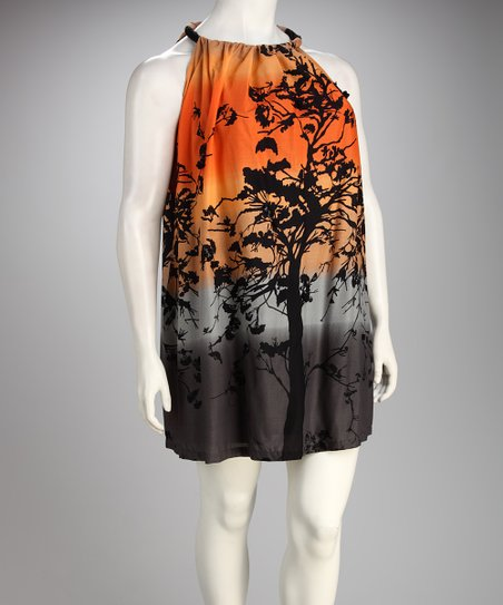 Madison Paige Orange & Black Branches Plus-Size Yoke Dress