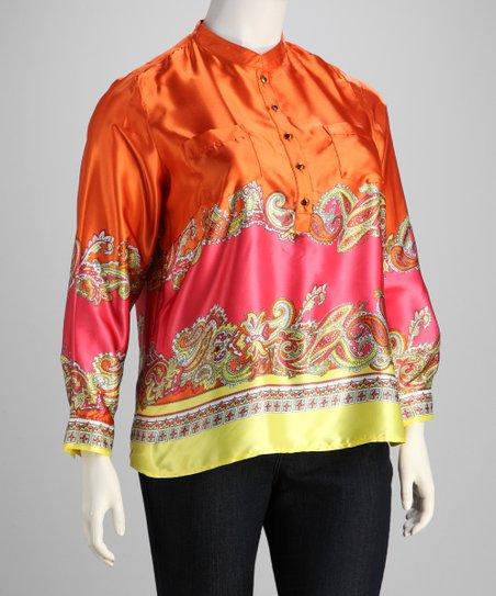 Orange & Pink Long-Sleeve Top - Plus