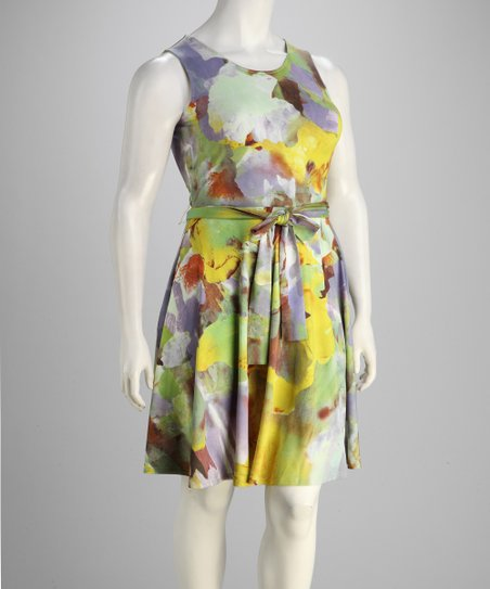 Lavender & Yellow Tie-Waist Dress - Plus