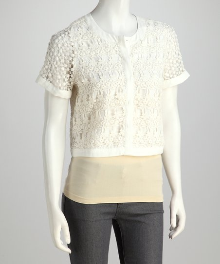 Off-White Lace Cropped Jacket