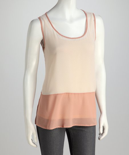 Light Taupe & Dark Pink Tank
