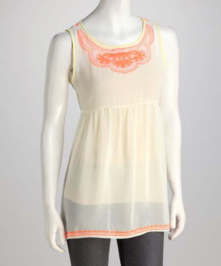 Cream & Orange Contrast Tunic