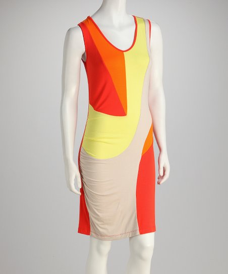 Orange Color Block Draped Dress