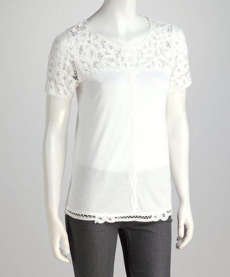 Off-White Lace Trim Top