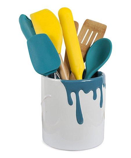 Teal Paint Bucket Utensil Holder