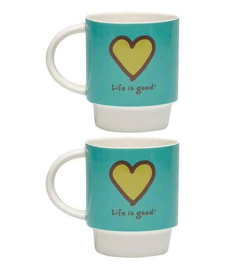 Aqua Blue Heart Stack-Happy Mug