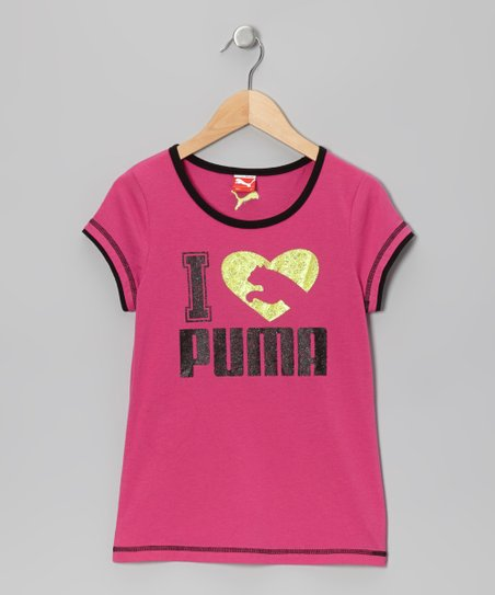 Raspberry Rose 'I Love Puma' Tee - Toddler & Girls