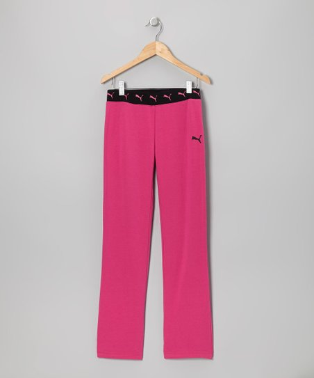 Raspberry Rose Contrast Yoga Pants - Toddler