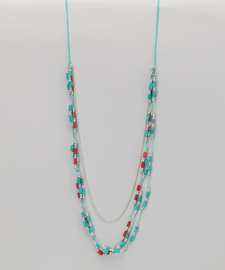 Coral & Turquoise Beaded Necklace