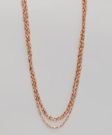 Coral & Gold Bead Necklace