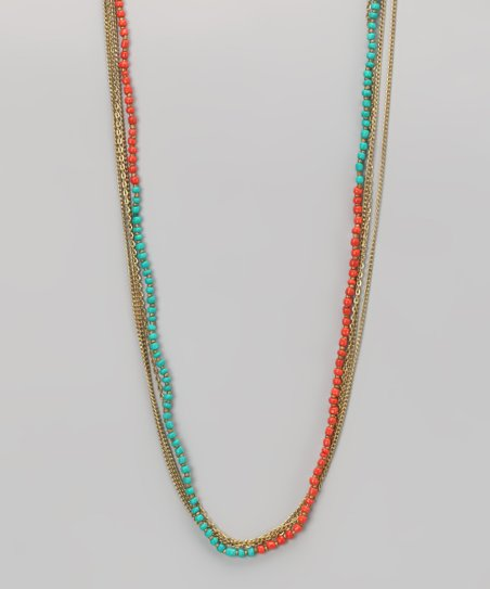 Coral &amp; Gold Beaded Necklace