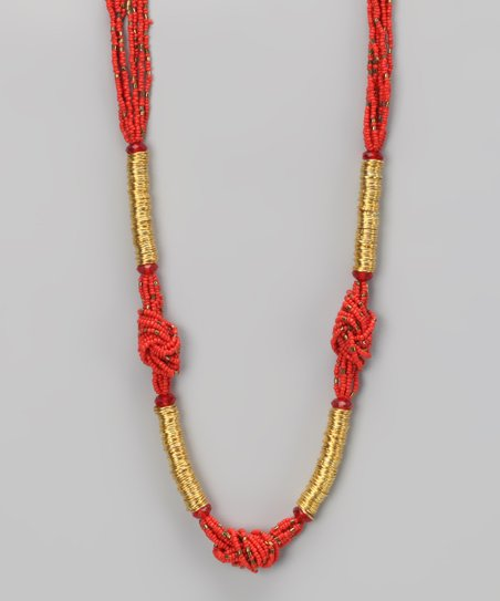 Coral Knotted Necklace